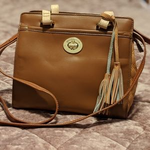 Spartina 449 handbag, tan leather, quilted